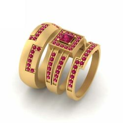 Solid 10k Yellow Gold Matching Couple Rings His And Hers Wedding Ring Band Set