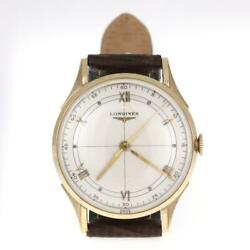 Longines Menand039s 14k Yellow Gold Hand Wind Leather Band Watch Liquidation