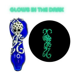4 Glow In The Dark Glass Handmade Collectible Spoon Pipe  Usa Seller ships Free