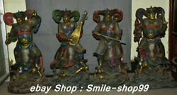 Chinese Purple Bronze Painting Gilt 4 Great Heavenly Kings Immortals Statue Set