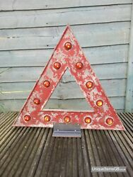 Pre-warboys Warning Triangle Road Sign With Glass Reflectors 18 X 16