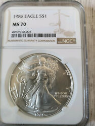 U.s. Coins 1986 1987 1988 1989 Silver Eagles Mint All Graded Ms 70 By Ngc