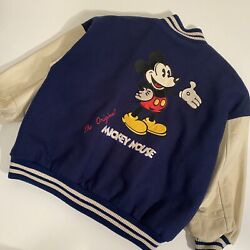 Vintage Mickey Mouse Leather Jacket L Large 80s 90s Disney Studio Editions