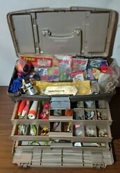 Vintage Plano Tackle Fishing Box Usa 787 Full Of Lures Bait Reels Jigs