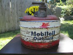Vintage Socony Mobil Oil Outboard Motor Oil 2 1/2 Gal Can-pegasus-gas Station
