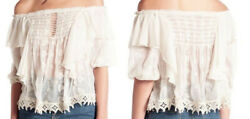 Free People Spirit In The Sky Sheer Blouse Top Color Ivory Size S NWT $168