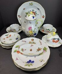 Vtg Herend Porcelain Hand Painted Fruits And Flowers Bfr Tea Set 16 Pieces Rare
