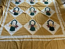 Vintage Hand Made Quilt Top Stitched appliqué embroidery Baskets Full 73quot; by 8