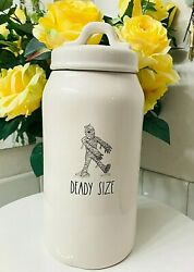 Rae Dunn Happy Halloween Mummy Deady Size Skinny Cookies Candy Treats Canister