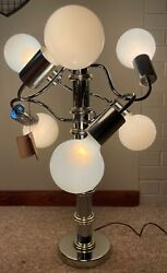 Vintage 60s 70s Chrome Table Lamp Mid Century Modern Lighting Wm. Tolen And Sons