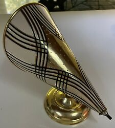 Vintage 50s 60s Black Gold White Metal Wall Sconce Lamp Lighting Mid Century Mod