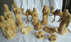 Vintage Hand Carved 14 Piece Nativity Set Carved From Olive Wood Christmas