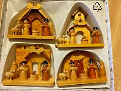 Set Of 4 German Made Wooden Ornate Christmas Nativity Ornaments