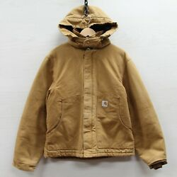 Insulated Canvas Work Jacket Size Medium Tan Hooded