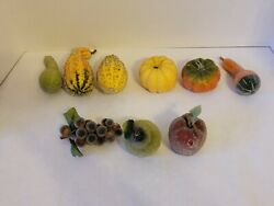 Vintage Faux Beaded Sugared Frosted Sparkly Fruits amp; Vegetables Lot of 9