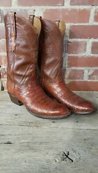 LUCCHESE CLASSICS BELLY CUT ALLIGATOR CROCODILE RARE EXOTIC WESTERN BOOT 10 D