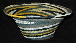 Blue/grey/yellow/white African Zulu Telephone Wire Basket/bowl L Oval