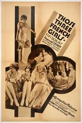Those Three French Girls 1930 One Sheet Rotogravure Poster On Linen Art Deco