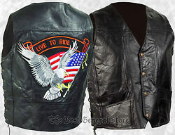 Mens Black Leather Biker Style Motorcycle Vest With Eagle Live To Ride Patch