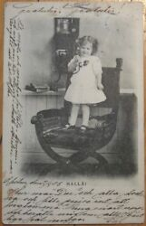 1903 Postcard-little Girl Stands On Chair For Telephone