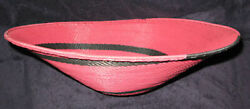 Simple Red And Black Swirl African Zulu Telephone Wire Basket/platter L