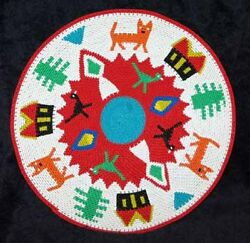 Cats And Birds Handmade African Zulu Telephone Wire Story Basket/plate