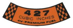 Ford 1967 And 1968 427 4v Premium Fuel Air Cleaner Decal