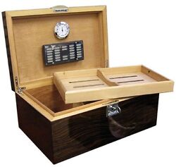 The Princeton Ebony 130 Cigar Humidor Case With Humidifier And Hygrometer