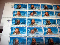 Usa Stamps 1986 Mint Pane Of 50 Polar Explorers - 22cent Stamps Unused Sheet