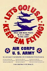 1940s Lets Go Usa Us Army Air Corps Vintage Style Ww2 Poster - 24x36
