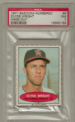 1971 Bazooka Numbered Card Clyde Wright Proof Psa 7