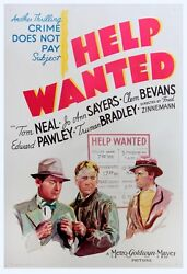 Help Wanted 1939 One Sheet Poster Fr. Crime Does Not Pay-series Tom Neal Nf