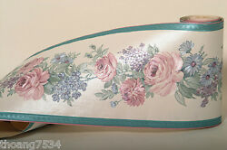 Pink Mauve Rose Floral Flower Silk Sheen Blue Daisy White Wall paper Border
