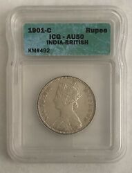 India 1901 Uk England Britain Victoria Empress Silver Slabbed And Graded Au 50