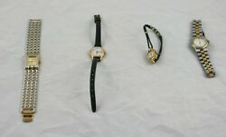 Women 4 Fashion Watches Silver Gold Tone Rivers Timex Elgin Klein Need Batteries