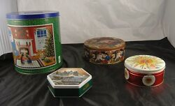 Lot Of 4 Collectible Vintage Tin Canisters Terry Redlin Santa Claus Rainbo V3o1