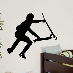 Large Stunt Scooter Teenage Bedroom Wall Transfer Art Sticker