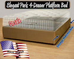 California King Platform Bed Frame  -  Storage Bed Micro fiber Many Mattress Box
