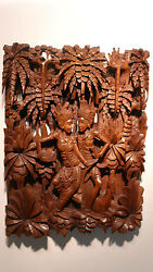 Superb Wall Plack By A Master Carver 19 X 15 X 2.5 Inch. Wide With Lush Forests