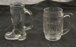 Lot Of 2 Vintage Mugs Steins Clear Glass Dads Rootbeer Frankenmuth Inn Q5g27