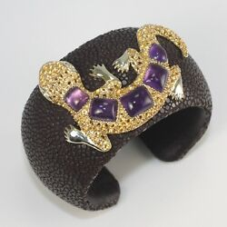 Brown Stingray Leather 18k Gold And Sterling Silver Citrine Amethyst Cuff Bracelet