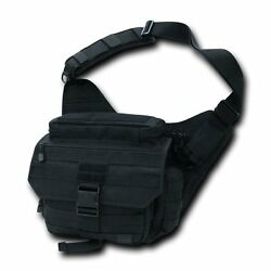Black Tactical Field Pack Messenger Bag Strap Military Army Hiking Gear Backpack