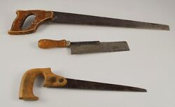 Lot Of 3 Vintage Hand Saws With Wood Handles Backsaws Ww2 Aa5y11