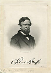 Vice President Schuyler Colfax And Original 1860s Portrait Engraving By G.e.perine