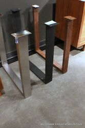 A Pair Dining Table Slab Legs Stainless Steel Flat Iron Or Rust Iron U Shaped
