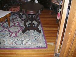 Antique High Victorian Mahogany Turtle Top Parlor Table Great Size And Condition