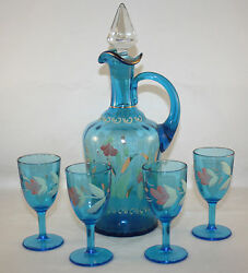 Victorian1890and039s Blue Enamel Decanter And 4 Cordials Dugan Coudersport