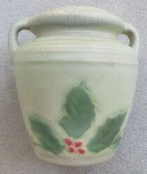 Arts And Crafts Weller Gray Fru Russet Christmas Holly Vase