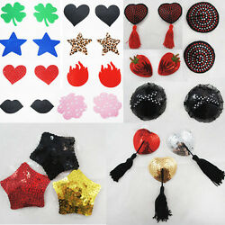 Ladies Sexy Sequined Tassel Heart Stick On Pasties Breast Plain Nipple Covers Us