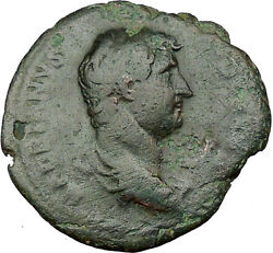Hadrian Bisexual Emperor 132ad Large Ancient Roman Coin Fortuna Luck I33781